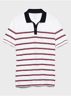 Slim-Fit Stripe Contrast Collar Pique Polo