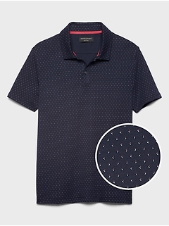 Slim-Fit Microprint Dress Polo