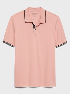 Ribbed Placket Pique Polo