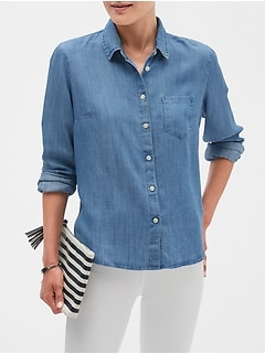 Petite Untucked Chambray Tencel Shirt
