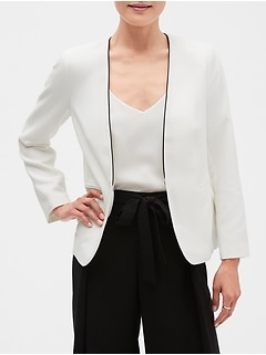 Collarless Contrast Piping Blazer