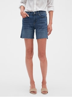 97f2a87853 Medium Wash Raw Hem Denim Shorts - 6 inch inseam