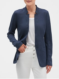 Textured Inverted Collar Cutaway Blazer