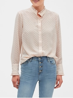 Petite Drapey Classic Textured Blouse