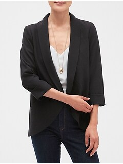 Circle Hem Shawl Collar Blazer