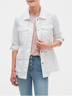 Petite White Linen Blend Utility Jacket