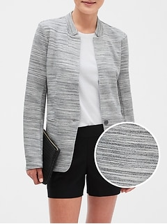 Petite Space-Dyed Inverted Collar Cutaway Blazer