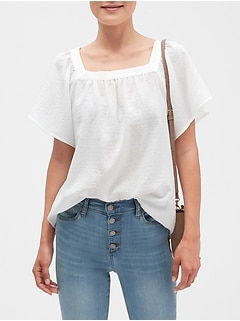 Textured Peasant Top