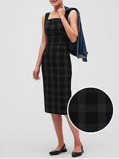 Square Neck Windowpane Midi Sheath Dress