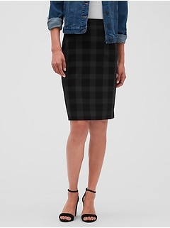 Windowpane Grid Classic Suit Pencil Skirt