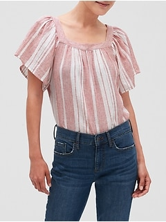 Stripe Textured Peasant Top