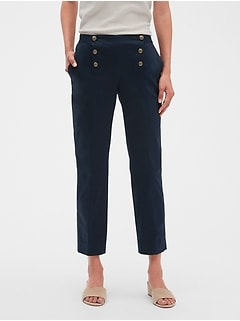 Petite Avery Sailor Button Tailored Ankle Pant