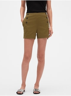 Petite Side Zip Sailor Shorts - 4 inch inseam