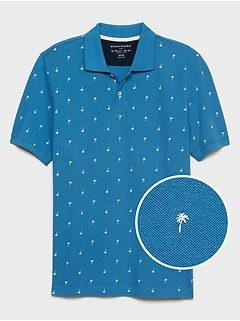 Tropical Print Pique Polo