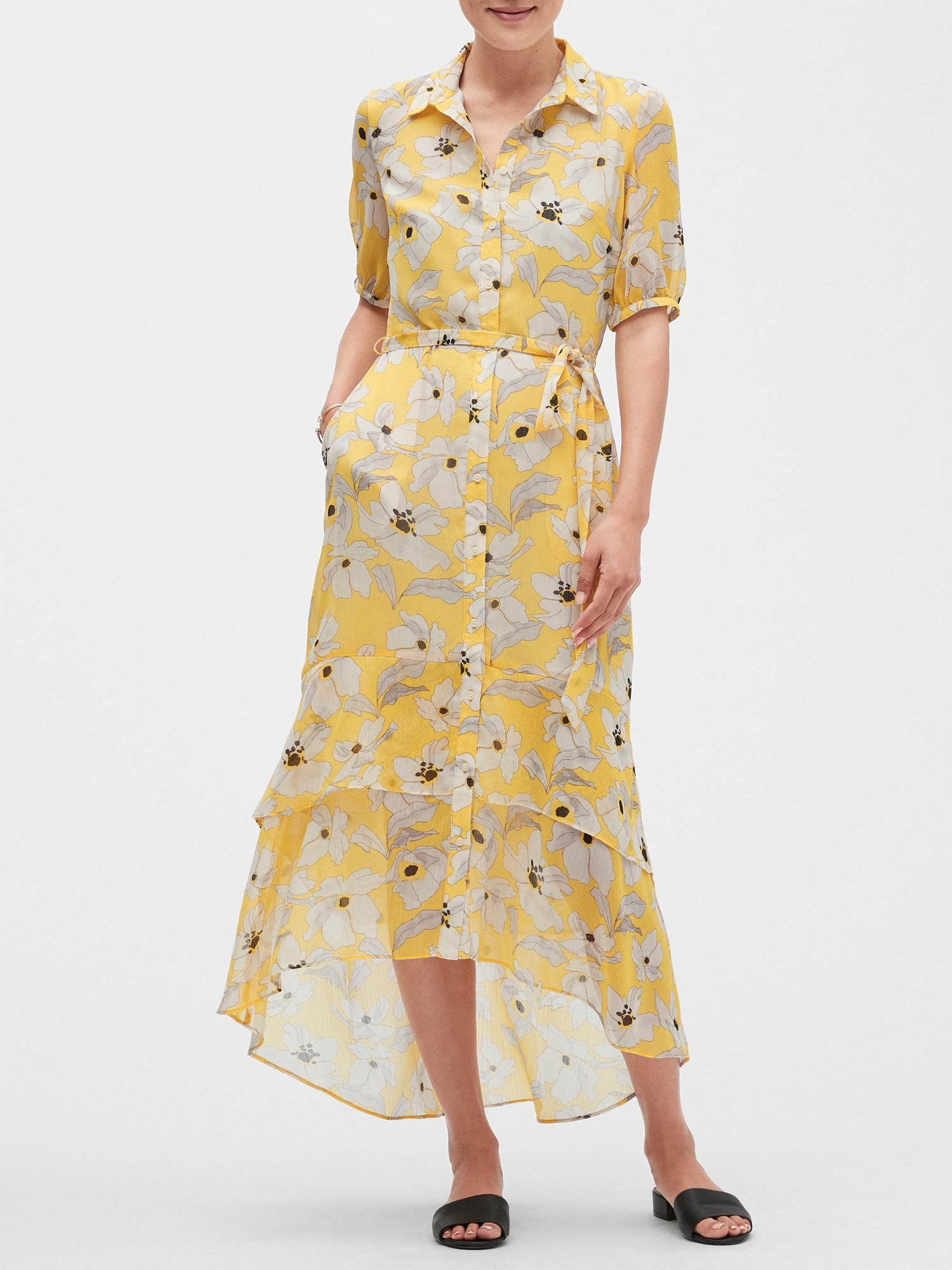classic style of 2019 buying cheap limited sale Petite Floral Print Maxi Shirtdress | Banana Republic Factory