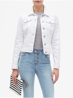 Petite White Denim Jean Jacket