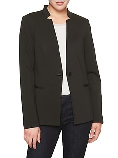 Petite Machine Washable Ponte Inverted Collar Blazer