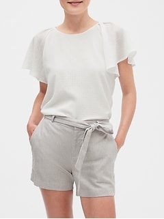 Petite Pleat Shoulder Top