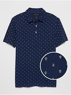 Slim-Fit Nautical Print Pocket Pique Polo