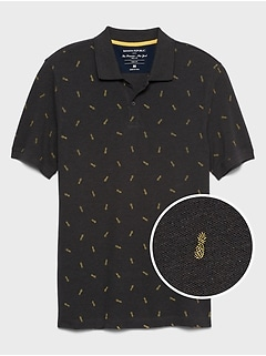Slim-Fit Tropical Print Pique Polo