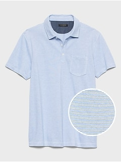 Pocket Mini Stripe Pique Polo