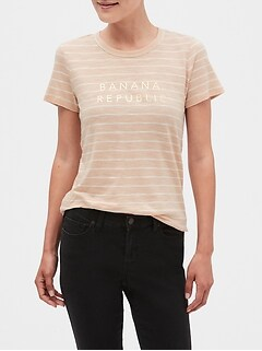 Stripe Banana Republic Logo T-Shirt