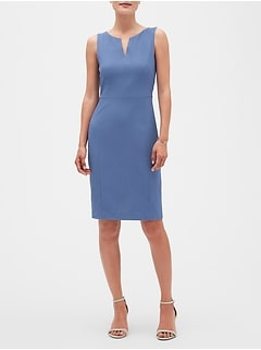 Split-Neck Chambray Sheath Dress