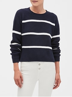 Stripe Crop Crew Neck Sweater