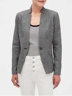 Petite Inverted Collar Linen Blend Blazer
