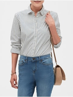 Stripe Pleat Trim Tailored Shirt