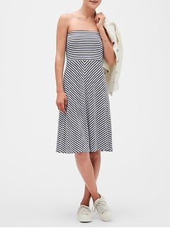 Petite Stripe Tube Fit and Flare Dress