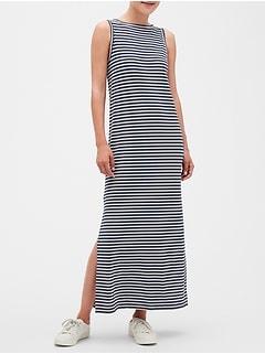 Stripe Strappy V-Back Midi Dress