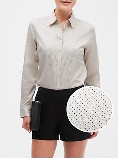 Dot Print Tailored Non-Iron Shirt