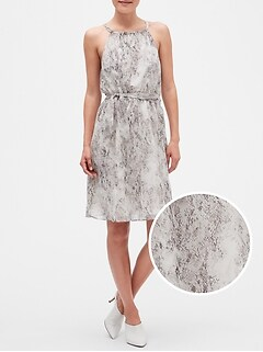 Snake Print Fit and Flare Dress