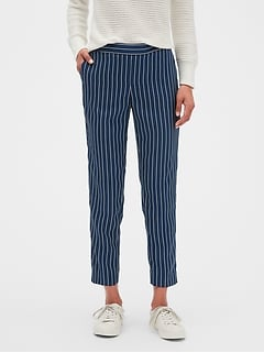 Petite Hayden Stripe Pull On Tapered Fit Soft Ankle Pant