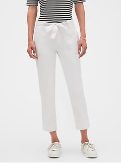 Petite Avery Linen Blend Tie Waist Tailored Ankle Pant