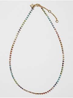 Rainbow Rhinestone Short Necklace