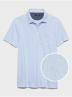 Slim-Fit Mini Stripe Pocket Pique Polo