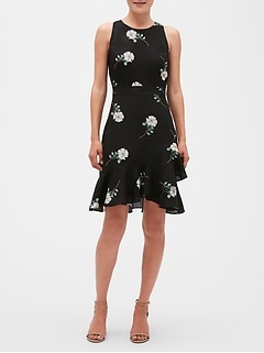 Floral Print Ruffle Sheath Dress