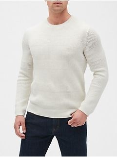 Stripe Texture Crew Neck Sweater