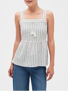 Stripe Strappy Peplum Top