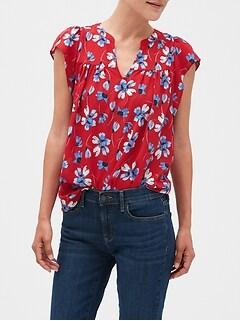 Floral Print Flutter Sleeve Top