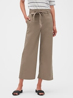 Paperbag Waist Wide Leg Lightweight Chino Crop Pant