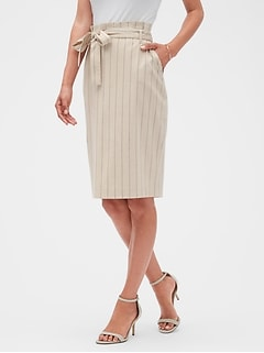 Petite Stripe Tie Waist Pencil Skirt