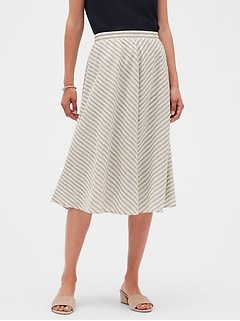 Stripe Pull On Linen Blend Midi Skirt