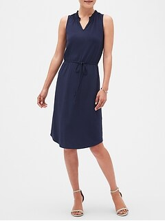 Petite Smock-Neck Fit and Flare Dress