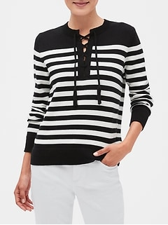 Lace-Up Stripe Sweater