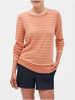Petite Stripe Machine Washable Forever Crew Neck Sweater