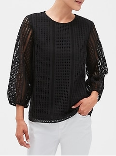 Petite Textured Blouse