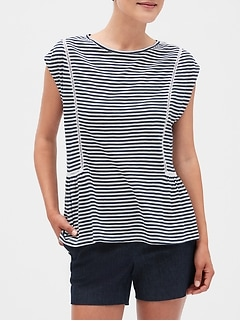 Petite Stripe Ladder Trim Top